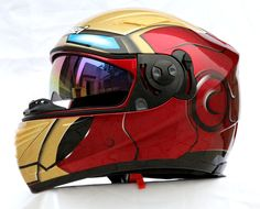 IRONMAN DOT & ECE MOTORCYCLE HELMET By Masei 830 Helmet Iron man for Suzuki, Kawasaki, Honda, KTM,....