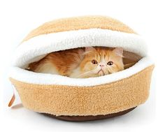 BETOP HOUSE Kitty Hamburger Litter Disassemblability Windproof Pet Nest Shell Cat Bed Hiding Burger Bun Pet Cat Bed * Special cat product just for you. See it now! : Beds for Cats
