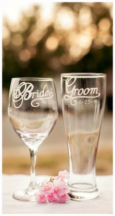 Shopping for wedding glassware?  Share this pin and get a 10% off code to use store-wide on all personalized glassware!  #weddings #engaged #bridal