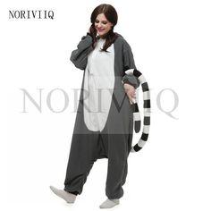 0360394175 FOLOBE Wholesale Lemur Catta Unicorn Monkey Unisex Flannel Hoodie Pajamas  Costume Cosplay Animal Onesies Sleepwear For Adult