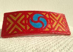 Red Hanji French Barrette Hair Pin OOAK Traditional by HanjiNaty, $16.00