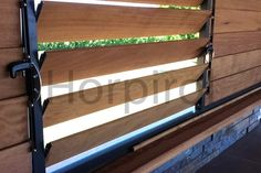 ceder lamellen shutters in alu kader in struktuurlak Outdoor Balcony, Rooftop Terrace, Fence Design, Window Design, Wood Partition, Timber Walls, Porch Furniture, Pergola With Roof, Shades Blinds