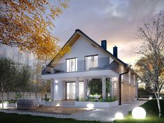 Find home projects from professionals for ideas & inspiration. AMARYLIS 5 by Biuro Projektów MTM Styl - domywstylu. House Front Design, Modern House Design, Model House Plan, House Plans, Bungalow Conversion, House Entrance, Modern Exterior, Home Fashion, Home Projects