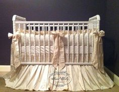 3 Piece Gender Neutral Crib Bedding in Silk - Suggested colors: cream, silver, champagne, taupe, white, by Social Baby on Etsy, $499.00