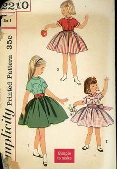1950s Simplicity 2210 Easy Sew Pattern Toddler Girls Rockabilly Dress sz 2 VGC #GirlsDressPatterns #1950sFashions #RockabillyBaby