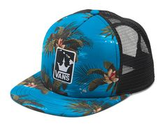 fdc1e00d794 Vans 2015 VTCS Triple Crown Trucker II Hat Blue Floral Black Vans The 2015 VTCS  Trucker Hat is a polyester mesh-back adjustable trucker hat with a Vans ...