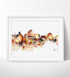 Rome cityscape, Rome Print, Rome Italy, Rome Skyline, Rome Poster, Rome Art poster, Rome Watercolor Wall art, Home Decor (135)