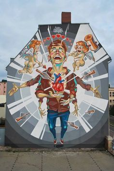 """by KD (Key Detail) - New mural """"Fall in love"""" - Halle, Germany - Sept 2014"""