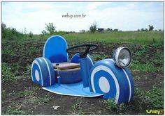Brinquedos de Pneus para Jardim Feitos de Pneus Velhos Usados Reciclados 2017