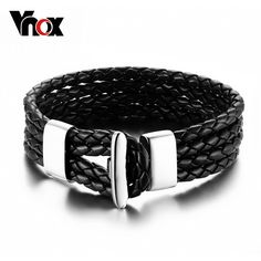 Multilayer Leather Bracelets Bangle For Men / Women European Charm Stainless Steel Clasp Jewelry WOW #Jewelry #shop #beauty #Woman's fashion #Products