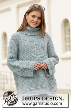 Knitted long jumper in DROPS Air. The piece is worked with textured pattern. Drops Design, Sweater Knitting Patterns, Free Knitting, Drops Baby, Magazine Drops, Long Sleeve Tunic, Knit Or Crochet, Handmade Clothes, Top Pattern