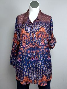 NWOT Johnny Was 1X Pink Blue Orange Floral Shirt Blouse Top Tunic Boho World #JohhnyWas #TunicBlouse