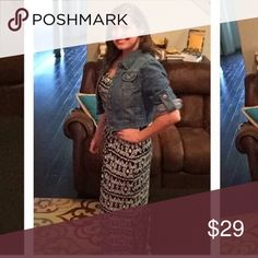 OBO- Maxi Dress Super comfy! No sleeves. 2 inch straps, doesn't come with Jean jacket. Long with split on each side Dresses Maxi
