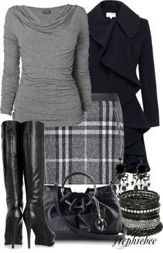 """Plaid Skirt"" by stephiebees on Polyvore. Great ensemble. #fashion #style #winter #gray #plaid #skirt"