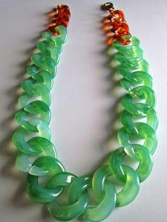 Chunky Plastic Link Statement Necklace Mint Green Tortoise Shell Statement Necklace Green Machine. $32.00, via Etsy.