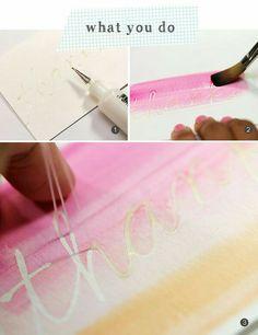 lijmpen water color over glue
