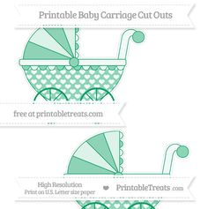 Shamrock Green Heart Pattern  Large Baby Carriage Cut Outs