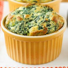 Spinach Souffles - Provide your family with a vegetable side dish courtesy of a savory souffle. Havarti cheese provides the perfect companion for fresh whole-leaf spinach in this bake.