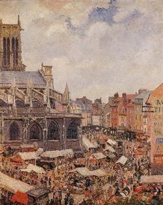 The Market Surrounding the Church of Saint-Jacques, Dieppe - Camille Pissarro