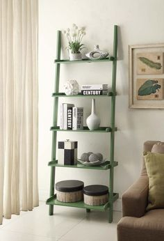 Convenience Concepts French Country Bookshelf Ladder in Green
