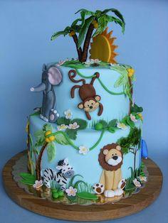 Zoo Animals Birthday Cake Animal Safari Theme Baby Shower First Birthday Edible Zoo Animal Cake Toppers Baby Cakes, Baby Shower Cakes, Cupcake Cakes, Safari Baby Shower Cake, Cake Fondant, 3d Cakes, Fondant Figures, Jungle Theme Cakes, Safari Cakes