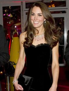 The Duchess of Cambridge wearing a diamond and ruby necklace she received as a wedding gift (I hope it's convertible in a tiara!)