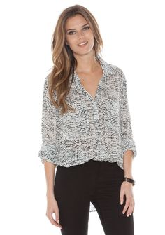 White and Black Print Hipster Shirt by Bella Dahl
