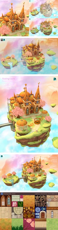My Portfolio, Floating Castle. I& currently looking for a modeling job. Game Environment, Environment Concept Art, Environment Design, Game Design, Bg Design, Mein Portfolio, Art Portfolio, Modeling Portfolio, Low Poly