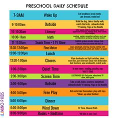 Preschool At Home Daily Schedule - eLeMeNO-P Kids