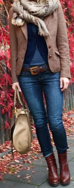 Layered tweed blazer & jeans, Love this style!