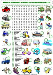 means of transport wordsearch puzzle vocabulary worksheet icon