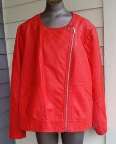 551b38aabc032 Women s Zipper Jacket Size 22 24 Lane Bryant Orange Polyurethane Faux  Leather  LaneBryant