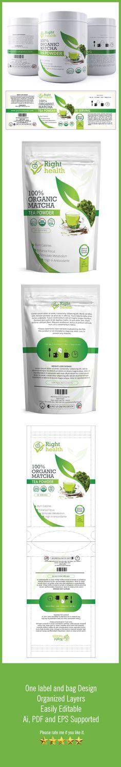 High quality Green Tea packaging template.