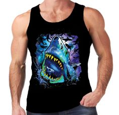 5fb9687a5 Details about Velocitee Mens Vest Psychedelic Shark Neon Colourful Jaws  Great White A21020. Clothes For WomenT Shirts ...