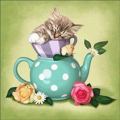 Cazenave Kitten Tea Pot Ceramic Accent & Decor Tile MC2-010aAT