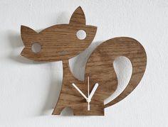 Fox Kids Cartoon Silhouette Wooden Wall Clock by SolPixieDust