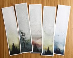 Moody watercolor bookmarks