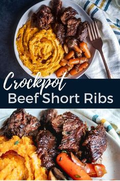 The BEST Crockpot Beef Short Ribs perfect for an easy dump and go Fall or Winter weeknight dinner! This hearty meat recipe combines short ribs, red wine, fresh thyme, carrots and mushrooms for a great combination the whole family will enjoy for Christmas, Short Ribs Slow Cooker, Slow Cooker Beef, Slow Cooker Recipes, Short Rib Recipes Crockpot, Meat Recipes, Cooking Recipes, Crockpot Meat, Short Ribs Recipe Easy, Healthy Recipes