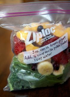 If you're not prepared, making a smoothie can turn into a 15-minute production! These DIY smoothie packs are the perfect solution to this predicament. Prep all the fruits and greens you use in your smoothies, and freeze individual serving sizes in quart-sized freezer bags (glass mason jars work well too). Note any additional ingredients that need to be added to the blender, and your smoothie is as good as done. Photo: Jenny Sugar