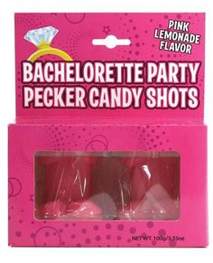"OMG! Amazingly delectable, lickable, edible Bachelorette Party Pecker Candy Shots will delight you and your guests. Each shot is made of Candy that is Pink Lemonade Flavored. 2 candy shots per package. Add your favorite Alcohol for a shot to remember. What a great party favor for the Bachelorette Party Crew. A new twist from the usual plastic or glass shots. There are many other penis shaped candies if you want more sweets.     Each shot is roughly 1.5"" tall!"
