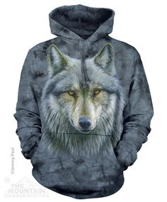 2814e359bc4 Details about Warrior Wolves Wolf Head Face The Mountain Pullover Hoodie  Sweatshirt Jacket