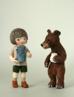 needle felt doll and his bear