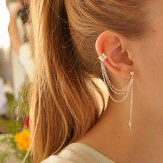 Clipe de ouvido moda personalidade de Metal folha único borla brincos punhos para mulheres e meninas grampo nas orelhas Ear Cuff jóias EH34 em Brinco de pressão de Jóias no AliExpress.com | Alibaba Group