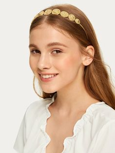 To find out about the Coin Design Headband at SHEIN, part of our latest Hair Accessories ready to shop online today! Pigtail Hairstyles, Latest Hairstyles, Tortoise Shell Hair, Coin Design, Metal Hair Clips, Metal Headbands, Wide Headband, Hair Accessories For Women, Hair Pins