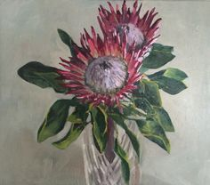 New red King protea painting. Oil on linen Protea Art, Protea Flower, Tea Bag Art, King Protea, Flower Art, Art Flowers, Oil On Canvas, Drawings, Floral