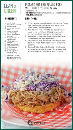 Instant Pot BBQ Pulled Pork with Greek Yogurt Slaw