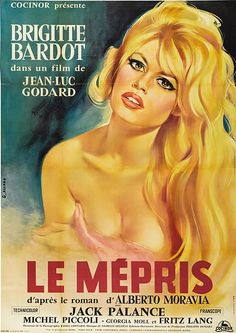 "Brigitte Bardot on original poster of ""Le Mépris"" by Jean-Luc Godard."