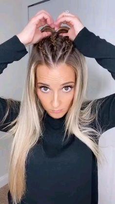 Blonde Hair Looks, Blonde Hair Girl, Brown Blonde Hair, Black Hair, Casual Hairstyles For Long Hair, Braids For Long Hair, Girl Hairstyles, Half Braided Hairstyles, Professional Hairstyles