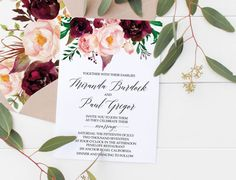 Boho Floral Marsala Wedding Invitation, Invitation Suite, Modern Invites, Watercolor Bohemian Wedding Invite, Paper Suite, Invite,