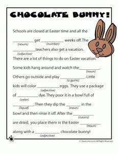 Easter Mad Libs - Chocolate Bunny!